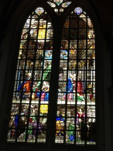 One of the stained glass windows in Oude Kerk