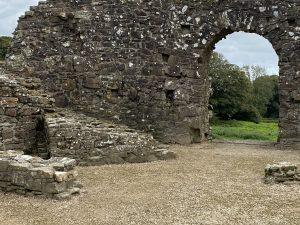 Arched entrance to Wiston Castle in Wales