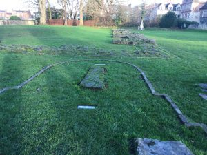 Remains of where the North transept of St Mary's Abbey once stood
